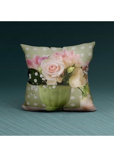 Artikel Renkli Rose Detaylı Dekoratif Yastık Kırlent Kılıfı 45x45 cm Renkli